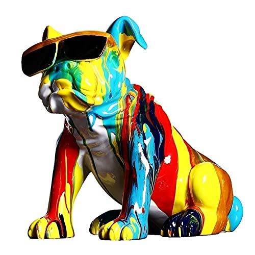MFFACAI Handgemalte Tierharz Skulptur Hundefigur Statue Pudel...