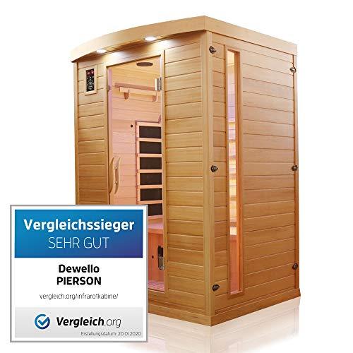 Dewello Infrarotkabine PIERSON 135x105 DUAL-THERM für 1-2 Personen aus Hemlock Holz...