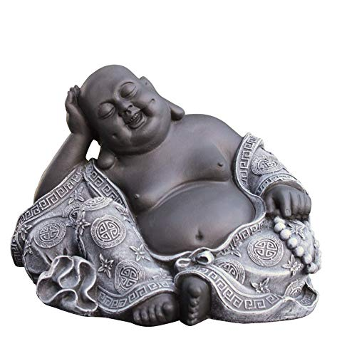 Steinfigur Buddha in Schiefergrau, Figur Deko Statue Garten...