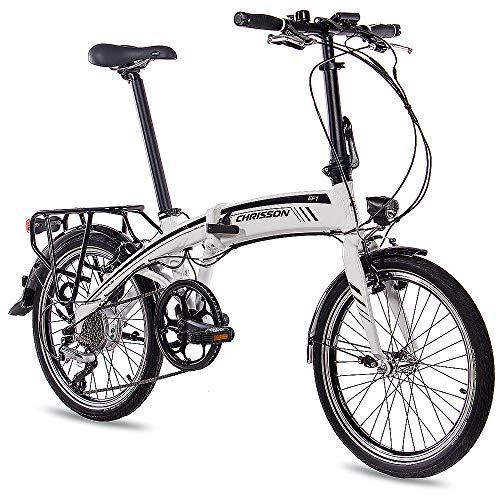 CHRISSON 20 Zoll E-Bike City Klapprad EF1 Weiss - E-Faltrad mit Bafang Nabenmotor 250W, 36V und...