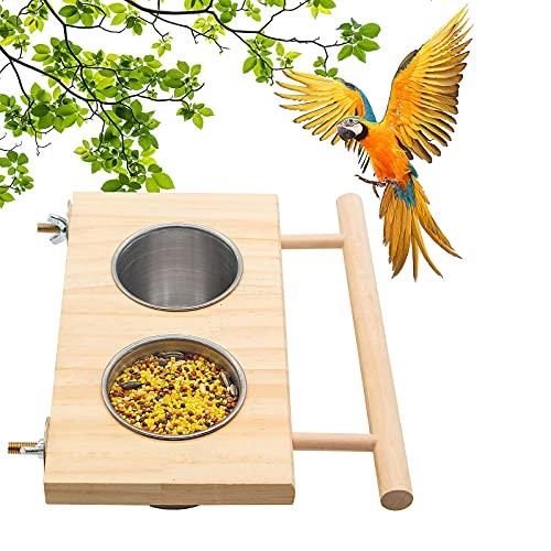 Edelstahl Vogelnapf mit Halterung, Vogelkäfig Zubehör, Vögel...