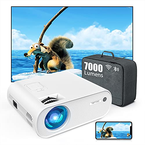Mini Beamer, WiFi Bluetooth Beamer Projektor, Beamer 7000 Lumen...