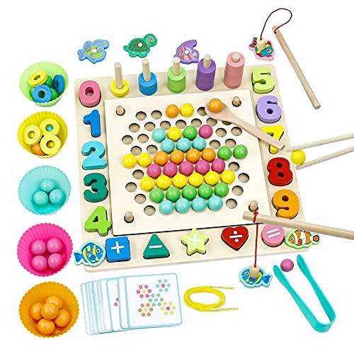 Holz Montessori Spielzeug Brettspiele Clip Perlen Puzzle...