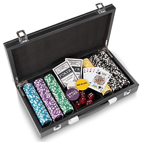 Pokerkoffer Leder Deluxe mit 300 Ocean Champion Chips abgerundete...