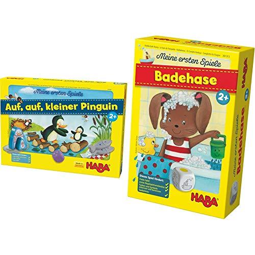Haba 301842 - MES auf Kleiner Pinguin, Würfel-Laufspiel & 301313 - MES Badehase...