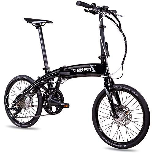CHRISSON 20 Zoll E-Bike City Klapprad EF3 schwarz - E-Faltrad mit Bafang Nabenmotor 250W, 36V...