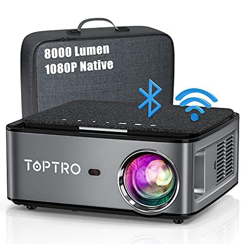 Beamer, 8000 Lumen Beamer Full HD, WiFi Bluetooth Beamer 4K...