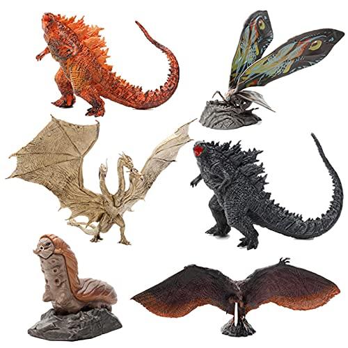6Pcs Burning Godzilla Gojira King Ghidorah Mothra Rodan 7-11Cm...