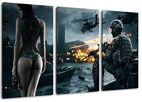 Dark Battlefield 3-Teilig auf Leinwand, Gesamtformat: 120x80 cm...