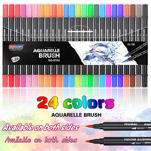 Dual Brush Pen Set, 24 Farben Pinselstifte, Aquarellstifte,...