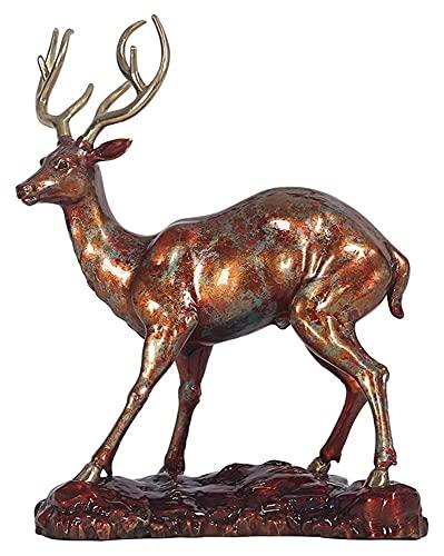 WQQLQX Statue Dekorative Hirsche Statue Tier Skulptur Gemalt...