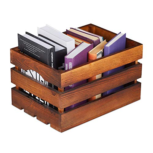 Relaxdays Holzkiste Vintage, Deko Weinkiste Holz, Aufbewahrung,...