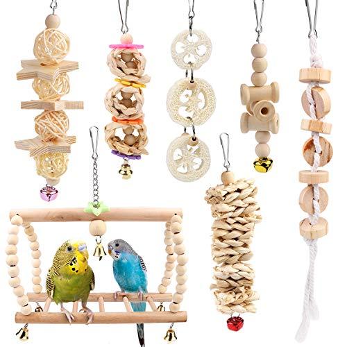 Vegena Vogelspielzeug, 7er Set Vögel Holzleiter Spielzeug mit...