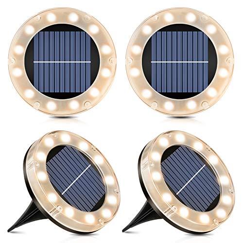 Solar Bodenleuchte Warmweiß, 12 LEDs Solarleuchten für Außen,...