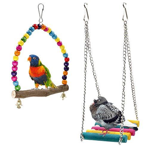 Rusee Bird Schaukeln, Holz Wellensittich Toys Pet Bird Cage...