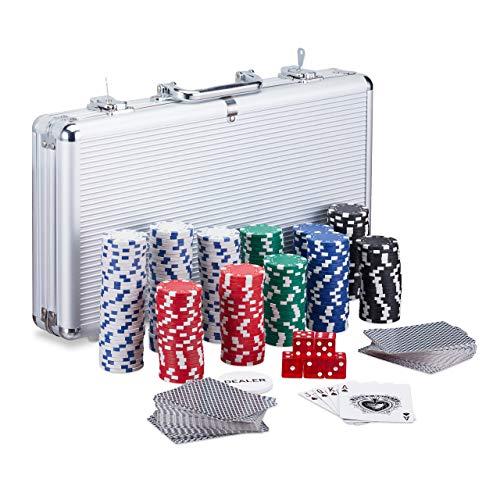 Relaxdays Pokerkoffer, 300 Laser Pokerchips, 2 Kartendecks, 5...