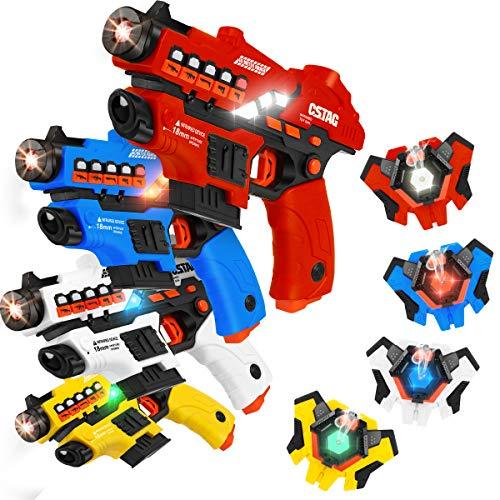 VATOS Spielzeugpistole Sprühfunktion und LED-Bildschirm, 4er-Set...