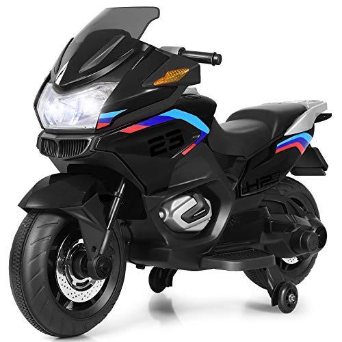 COSTWAY 12V Elektro Polizei Motorrad mit LED Scheinwerfer, Musik,...