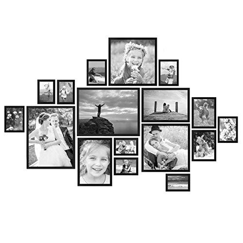 PHOTOLINI 17er Bilderrahmen-Set Modern Schwarz aus MDF 10x15 bis...