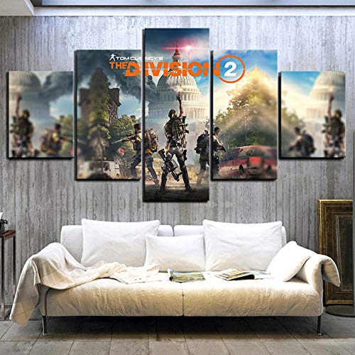 5 Stück HD Bilder Die Division 2 Spiel Poster Tom Clancy Schießen Spiel Kunstwerk Leinwand...