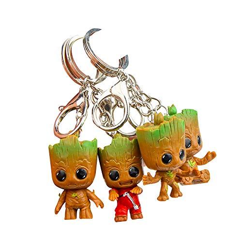Baby Groot Schlüsselanhänger (4er Set) Schlüsselbund Keyring...
