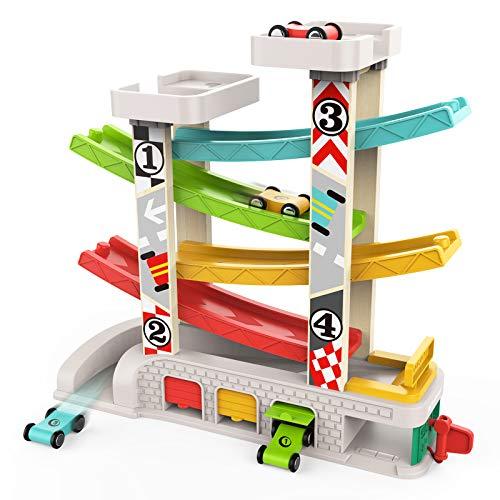 TOP BRIGHT Kugelbahn Autos Holz ab 1 Jahr, Auto Rennbahn Holz Spielzeug, Holz Kinderspielzeug 1...