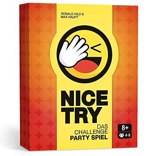 Nice Try – Das Challenge Party Spiel, Witziges Kartenspiel für...