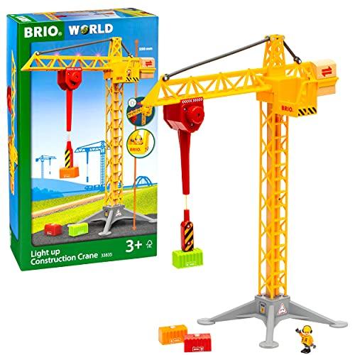 BRIO World 33835 Großer Baukran mit Licht – Zubehör für die...
