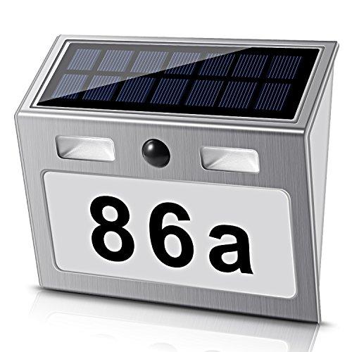 Solar beleuchtete Hausnummer mit 7 LEDs, ECHTPower Solar...