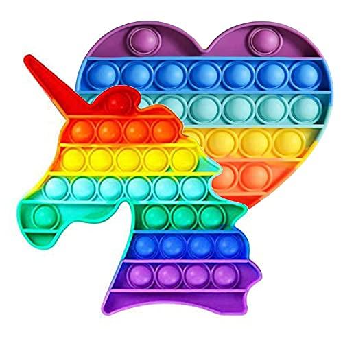 LSGO Fidget Spielzeug Set für 2 Stück Regenbogen Pop Bubble...