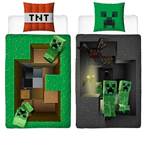 Familando Wende Bettwäsche-Set Minecraft Motiv | 135x200cm +...