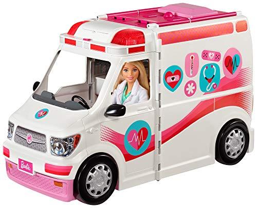 Barbie FRM19 - 2-in-1 Krankenwagen, aufklappbares Fahrzeug mit...