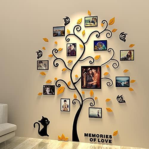 Asvert 3D Wandaufkleber Baum Gelb Wandtattoo DIY Wandaufkleber...