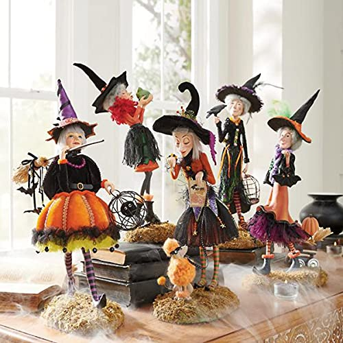 Lincang 5PCS Charming Witch Dolls, Halloween Witch Figures Decor,...