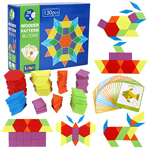 Lewo 130 Teilig Holzpuzzles Geometrische Formen Puzzle Bausteine...