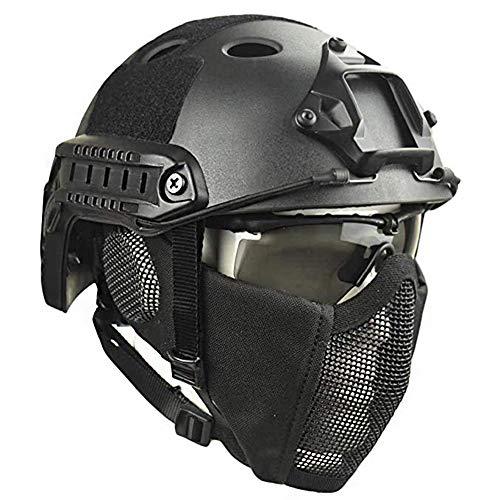QZY Airsoft Paintball Schutzhelm, Taktische Helme mit Stahlgitter...