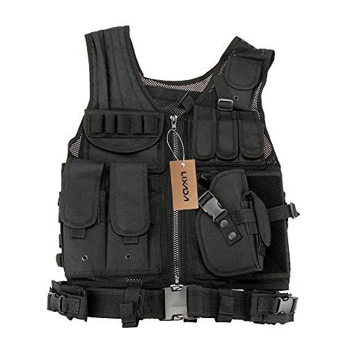 Lixada Taktische Weste Herren-Outdoor Weste mit Taschen- Tactical Weste für Jagd...