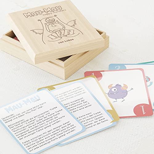sendmoments Spiel Mau Mau, Kinderspiel, 60 illustrierte Karten...