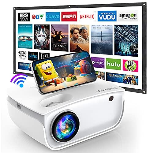 GROVIEW WiFi Beamer, 7000 Lumen Mini Video Beamer mit Bildschirm,...