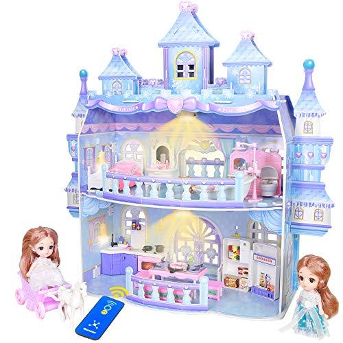 Puppenhaus, Große 2 Spielebenen Eispalast Puppenhaus Schloss mit...