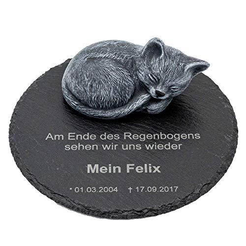 Tiefes Kunsthandwerk Gedenkstein Katze für Dein Haustier, mit...