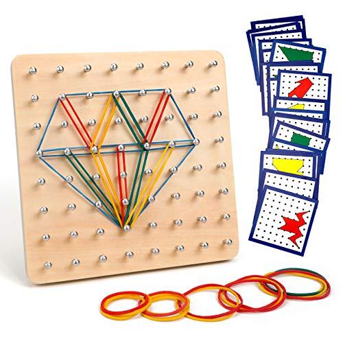 Homealexa Holz Geoboard Set Geometriebrett Montessori Holz Spielzeug für Kinder,...