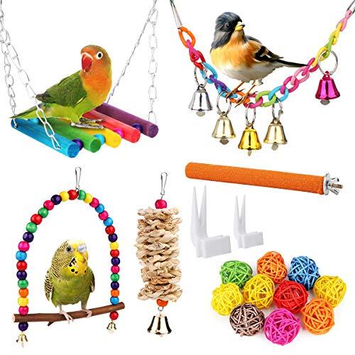 Vegena Vogelspielzeug, 17er Set Vögel Holzleiter Spielzeug mit...