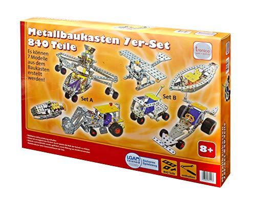Tronico Metallbaukasten 7 Modelle 840 Teile...