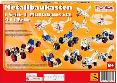 Tronico Metallbaukasten Bausatz 15-in-1 Modelle Baufahrzeuge 500...