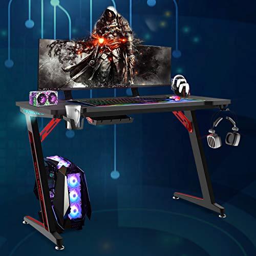Soontrans Gaming Tisch mit LED Groß Computertisch mit RGB...