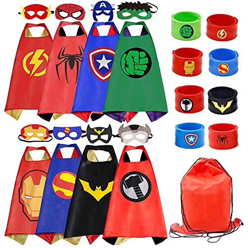 FENRIR Kids Dress Up 8PCS Superhero Capes Set and Slap Bracelets...