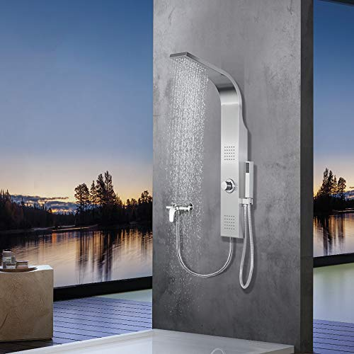 Elbe® Duschpaneel ohne Armatur mit 3 Funktionen, Duschsystem aus gebürstetes Edelstahl 304,...
