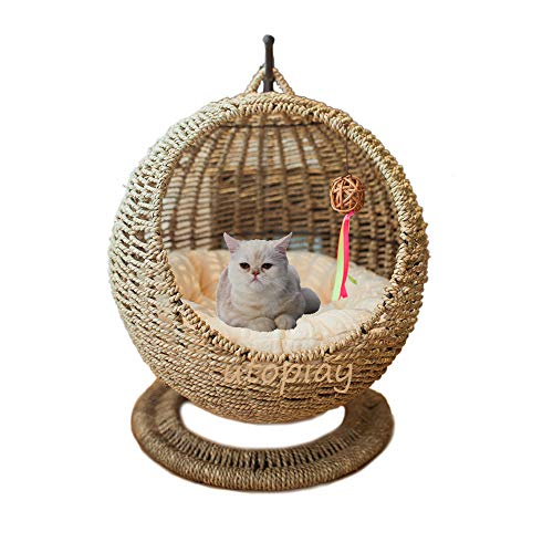 UTOPIAY handgefertigtes Katzenbett, Seegras, gewebtes Katzenhaus,...