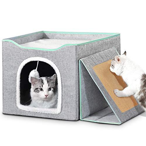 Bosixty Faltbare Kuschelhöhle für Katzen Haus, Würfelform...